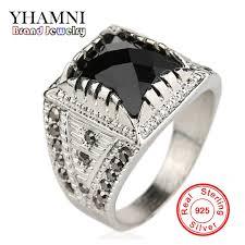 aliexpress buy mens rings black precious stones real aliexpress buy yhamni classic vintage men ring real silver