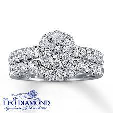 leo diamond ring leo diamond bridal set 2 ct tw cut 14k white gold