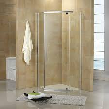 36 neo angle shower enclosure designed for use in the corner of a bathroom transparent glass walls create a modern open appearance while sleek aluminum