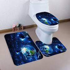 Solar System Night Light Galaxy Solar System Pattern 3 Pcs Bathroom Toilet Mat Deep Blue