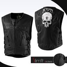 mens leather motorcycle vest punisher war zone black vest