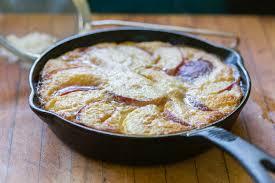 cast iron peach clafoutis u2014 recipe fiction