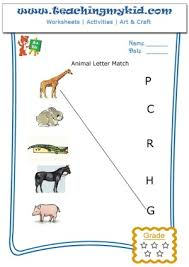 pre k worksheets match animal with the first letter of name 3