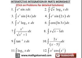 Sin Cos Tan Worksheet Integration By Parts Interactive Worksheet Youtube