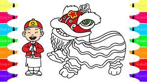 draw and coloring lion dance coloring pages for kids learn