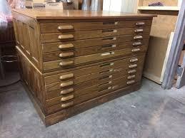 Wood Flat File Cabinet Vintage 10 Drawer Oak Wood Flat File Blueprint Cabinet 46 1 2