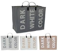 laundry separator hamper 3 section laundry bag basket canvas colour white dark storage
