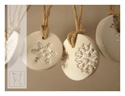 silver dusted white snowflake porce porcelain ornament and clay