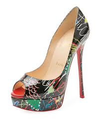 christian louboutin dollyla patent 100mm red sole pump black