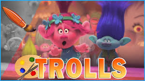branch and poppy dancing trolls movie kids coloring book