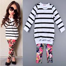 cute baby kids girls clothes stripe t shirt tops floral leggings