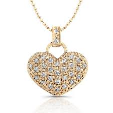 diamond heart gold necklace images Rose gold puffy pave diamond heart necklace jpg