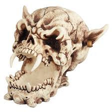demon skul roaring skull scary skull horror movie prop halloween