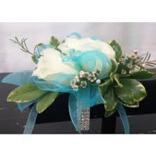 teal corsage white organza corsage with bling flowers