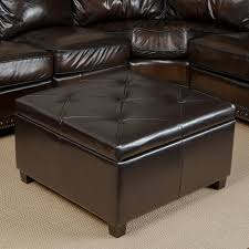 Leather Storage Ottoman Coffee Table Outstanding Leather Ottoman Cocktail Storage Uk
