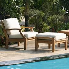 White Armchair With Ottoman St Barts Deep Seating Teak Outdoor Arm Chair And Ottoman With
