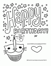 happy birthday card with cat cupcake coloring page for kids