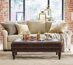 Tuffted Ottoman Martin Tufted Leather Ottoman Pottery Barn