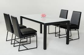 Black Leather Chairs And Dining Table Glass Dining Table Sets Maira Dining Table Set With 4 Franco