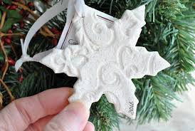 snowflake salt dough imprinted christmas ornament winter wedding