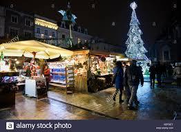 krakow poland 06th dec 2016 stores christmas trees christmas