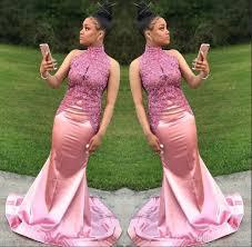 elegant african 2k18 prom dresses 2017 pink high neck sleeveless