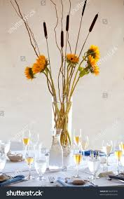large wedding table centerpiece sunflower bouquet stock photo