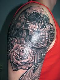 traditional skull with roses skull tattoos