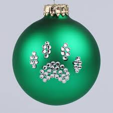 green paw print ornament and cat paw print tree