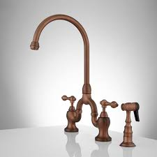 ponticello bridge kitchen faucet with side spray lever handles antique copper side