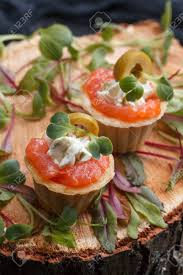 canapé cottage delicious canape with salmon cottage cheese olive with micro