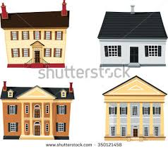 revival homes classical revival homesset different architecture stock vector
