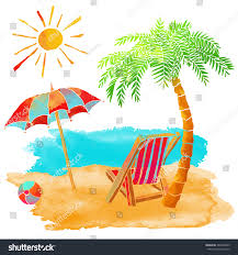 Beach Chair Umbrella Set Watercolor Summer Beach Set Sea Palm Stock Vector 263246693