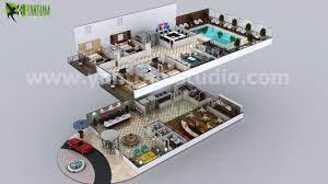conceptual multistory hotel floorplan by yantram 3d interior floor multi story hotel 3d floor plan design ideas