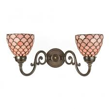 shades of light pink victorian double wall light with pink tiffany glass shades