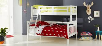 Aztec Kids Bunk Beds In White Timber With Yellow And Red Patterned - Double top bunk bed