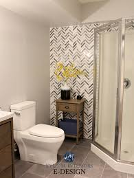 Bathroom With Corner Shower Herringbone Or Chevron Gray Marble Accent Tile In Small Bathroom