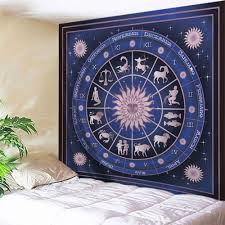 12 constellations print tapestry wall hanging art deep blue w