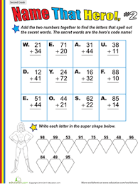 name that hero two digit addition worksheets education com
