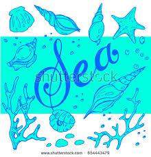pattern sea shells corals blue tones stock vector 654443434
