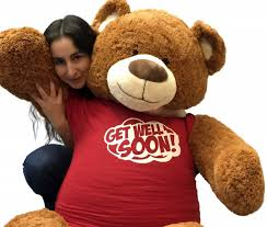 get well soon teddy 5 foot teddy 60 inches soft cinnamon brown color wears