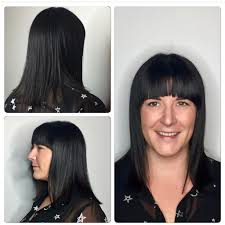 women u0027s long blunt bob cut and brow skimming bangs with textured