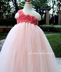 flower dress coral tutu dress baby dress toddler