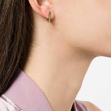 huggie earrings triangle dormeuse 3d diamond huggie earrings noor fares the