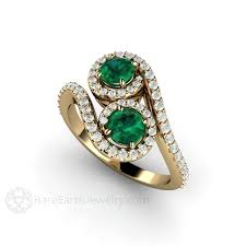 gold emerald engagement rings toi et moi engagement emerald ring vintage style 2 bypass
