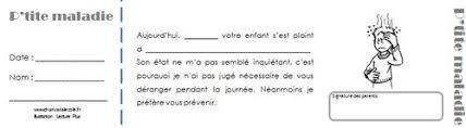 mail absence maladie bureau des petits billets pour les parents charivari à l école