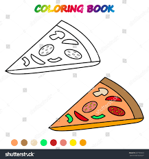 pizza coloring book coloring page educate stock vector 697703029