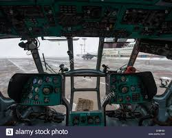 a russian mi 8 helicopter is seen through the cockpit of another