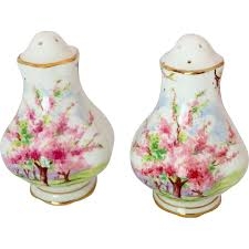 royal albert blossom time pink floral scenic salt and pepper
