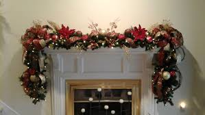fireplace mantel lighted garland xl deluxe luxury floral